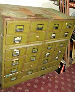 Vintage Metal Card Military Catalog File Cabinet Library 24 Drawer Office