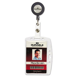 Durable Id security Card Holder Set Vertical horizontal Reel Clear 10 pack