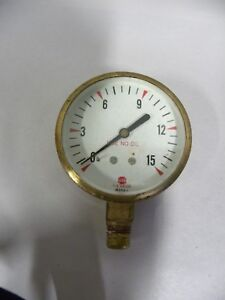 Vtg Industrial Machine Age Steampunk Usg Us Gauge Brass Pressure Gage a5