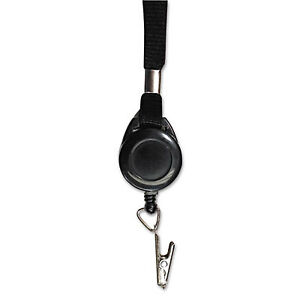 Advantus Lanyards With Retractable Id Reels Clip Style 34 Long Black 12 car