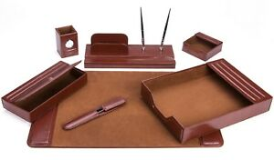 Majestic Goods 7 Piece Brown Leather Desk Set 105 dsg7n