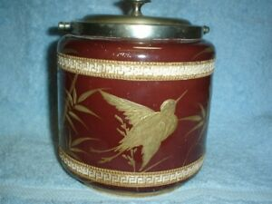 A Lovely Antique Aesthetic Period Biscuit Jar Lid With Raised Gold Decoration