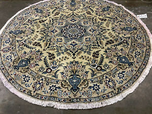 5x5 Round Hand Knotted Persian Rug Wool Silk Rugs Oriental Antique Cream 5ft