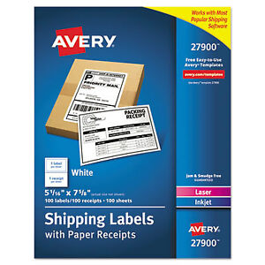 Avery Shipping Labels With Paper Receipt Bulk Pack 5 1 16 X 7 5 8 White 100