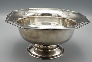 English Large Footed Sterling Silver Center Bowl Circa Early 1900