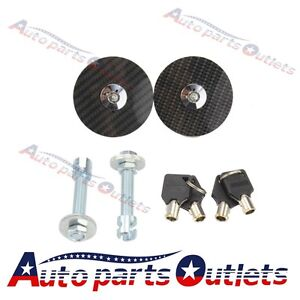 Black Racing Carbon Fiber Mount Bonnet Hood Latch Pin Key Locking Kit Universal