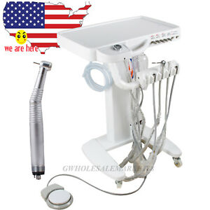 Us Sale Dental Delivery Unit Mobile Cart Equipment free Gift Led Handpiece