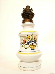 Pair Of French Painted Oil Lamps