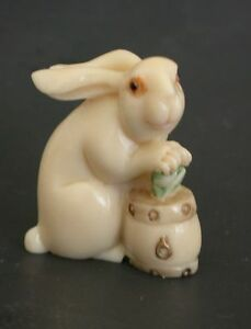 Japanese Ivory Color Bone Netsuke Rabbit With Ruyi Bucket Wish U Well