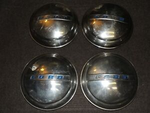 Set Of 4 Vintage Ford Hubcaps Dog Dish Baby Moon