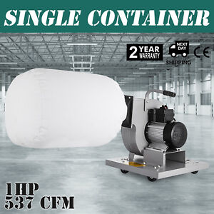1 Hp Light Duty Industrial Dust Collector Wood 537 Cfm Cleaner Free Warranty