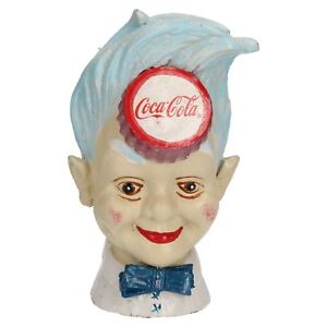 Coca Cola Coke Man Head Money Bank Box Cast Iron Coin Change Jar Bottle Top