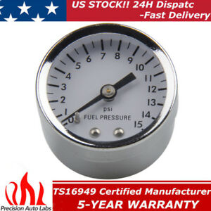 High Performance 1561 Fuel Pressure Gauge 1 1 2 Inch 0 15 Psi 1 8 Npt Chrome
