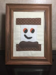 Framed Primitive Rustic Stitchery Applique Picture D Cor 5x7 Smore Handmade