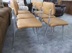 Vtg 1950 Aluminum Set 6 Mid Century Modern Shelby Williams Gazelle Dining Chairs