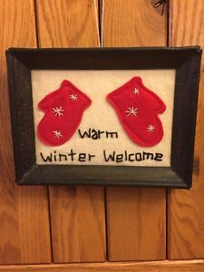 Framed Primitive Rustic Stitchery Applique Picture D Cor 5x7 Mittens Welcome