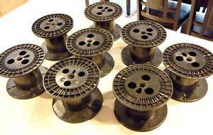 Lot Of 8 Empty Large Heavy Duty 4 Spools For Cord Wire Craft Thread Etc