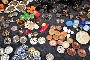Unique Lot Of Antique Vintage Buttons Metal Glass Steel Celluloid Carved Picture