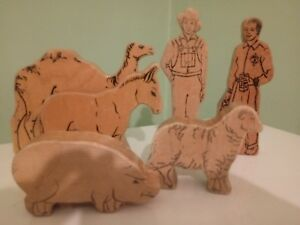 Vintage Lot Of Wooden Block Figures 6 Double Sided Figures 2 Men 4 Animals