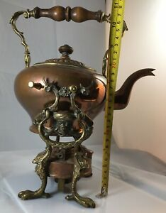 Antique Copper Tea Kettle And Burner Ethnic Face Both Sides Eagle Legs And Feet