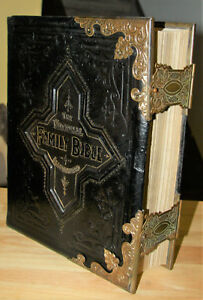Antique C1885 Family Bible Fancy Brass Corner Clasps Excellent