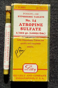 Vintage Eli Lilly Atropine Sulfate1 200 Gr Tablets In Vial With Box Poison