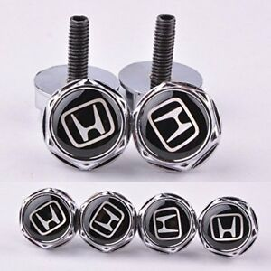4pcs New Metal Gti License Plate Frame Bolt Screws Fastener For Honda Caps New