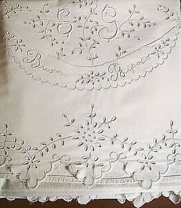 Antique Sheet Embroidered White Cotton Italian Buon Riposo Bedsheet