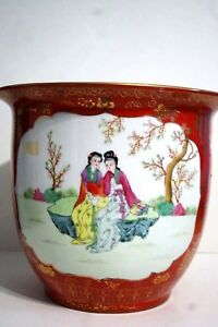 Chinese Porcelain Famille Rose Orange Gold Large Planter Kangxi
