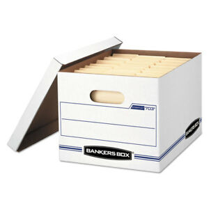 Bankers Box Stor file Storage Box Letter legal Lift off Lid White blue 12 c
