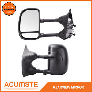 Manual Black Towing Drivers Side Mirror For 1999 2007 Ford F Series Super Duty