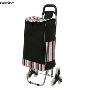 Folding Shopping Cart Three wheels Climbing Trolly Waterproof Grocery Laundry __