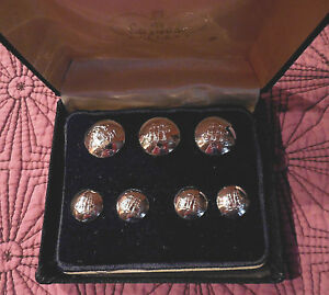 Boxed Set Of Pewter Sailing Ships Blazer Buttons 3 7 8 4 1 2