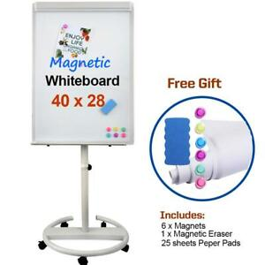 Portable Magnetic Dry Erase Board Easel Mobile Whiteboard 40 X 28 Inch With H
