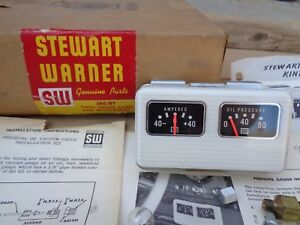 Nos Stewart Warner Twin Gauge Panel 366 hy Original Sw Amperes Oil Pressure