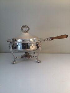 F B Rogers Silverplate Vintage Round Chafing Dish