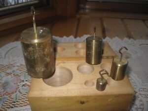 Vintage Set Of 4 Brass Balance Scale Weights Wood Box Hooks