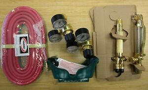Harris Welding And Cutting Outfit Torch Twin Hose Goggle Regulators Bag