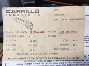 Carrillo Pro H Beam Rods For Chevy Small Block 6 180 Set Of 8 New In Box