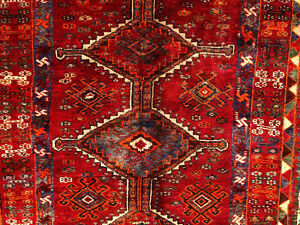 5x7 Antique Caucasian Rug Hand Knotted Persian Wool Foundation Red Area Rugs 5x8