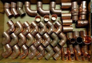 1 Copper Fittings 46 Piece s Elbows Adapters Reducing T s Couplers Caps