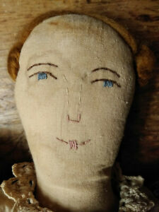 Primitive Folk Art Doll 20 Americana Cloth Rag Doll Has Red Hair Blue Eyes