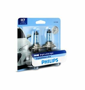 Philips H7 Crystalvision Ultra Upgraded Bright White Headlight Bulb 2 Count