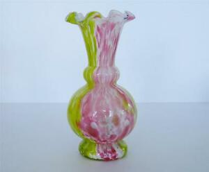 Antique Pink Yellow End Of Day Spatter French Legras Art Nouveau Glass Vase