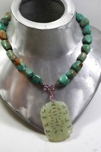 Vintage Natural Chinese Turquoise Stone Bead Necklace Carved Jade Pendant