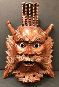 Antique Chinese Emperor Rosewood Hand Carved Mask 10