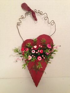 Vtg Valentine Button Bokay Heart Wall Pocket Rustic Prim Country Cottage Chic