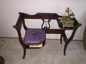 Vintage Lyre Back Telephone Chair Antique Furniture Duncan Phyfe Style