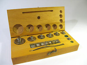 Antique Laboratory Weight Set With Fractionals And Tweezers In Solid Maple Box