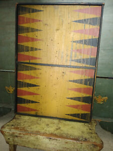 Best Early American Folk Art Style Primitive Style Painted Game Board